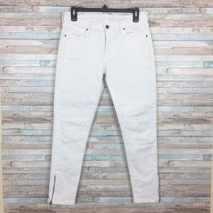 Banana republic white premium denim ankle jeans